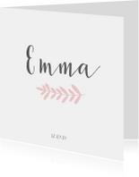 Lief geboortekaartje voor een meisje met roze takje