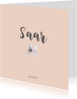 Lief geboortekaartje voor een meisje met strikje