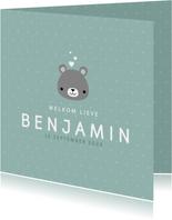 Lief geboortekaartje voor jongen met beertje en stipjes