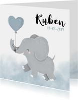 Lief geboortekaartje voor jongen met olifantje en waterverf