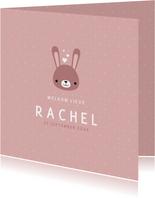 Lief geboortekaartje voor meisje met konijntje en stipjes