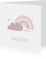 Lief geboortekaartje voor meisje met regenboog en wolk