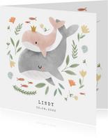 Lief geboortekaartje voor meisje met walvissen en plantjes