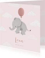 Lief geboortekaartje voor meisje olifantje aan ballon