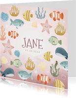 Lief geboortekaartjes met visjes, plantjes, belletjes oceaan