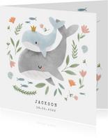 Lief geboortjekaartje voor jongen met walvissen en plantjes