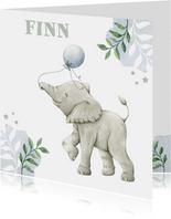 Lief getekend olifantje in waterverf op geboortekaartje zoon