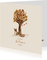 Lief herfst geboortekaartje met een vos en vlaggetjes