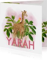 Lief jungle geboortekaartje giraffe met vogeltje