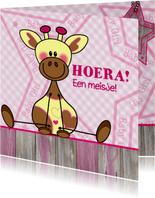 Lief meisje geboren giraffe roze