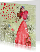 Lief meisje rode hartjes