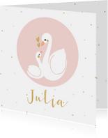 Geboortekaartjes - Lief meisjes geboortekaartje met zwaan