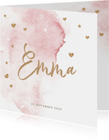 Lief roze watercolor brush geboortekaartje meisje hartjes