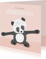 Lief zalmroze kaartje met getekende pandabeer 'ik mis je'