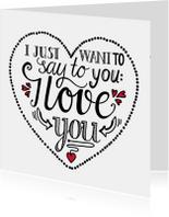 Liefde kaarten - Liefde - I love you white