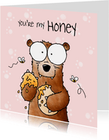 Liefde kaart beer 'You're my honey I'll be your bear'