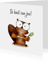Liefde kaart bevertje - Ik hout van jou