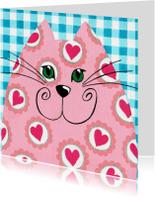 Liefde kaart hartjes kat