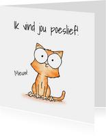 Liefde kaart kleine kitten - Ik vind jou poeslief