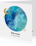 Liefde kaart maan en sterren