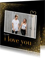 Liefde kaart met foto en goudlook i love you
