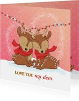Liefdeskaart love you my deer IH