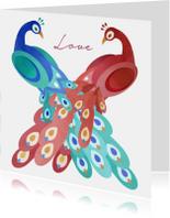 Liefdeskaart met twee pauwen