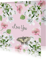 Liefdeskaart Romantische bloemen