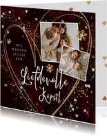 Liefdevolle kerstkaart met hart sterretjes en spetters goud