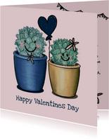 Liefdevolle valentijnskaart met illustratie van cactussen