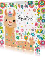 Lieve alpaca verjaardagskaart