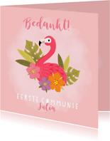 Lieve bedankkaart communie met flamingo, plantjes en bloemen