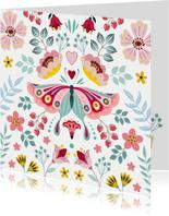 Lieve beterschapskaart met vlinder en bloemen
