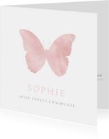 Lieve communiekaart met een roze silhouet van een vlinder