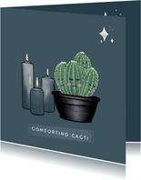 Lieve condoleancekaart met cactussen, kaarsen en sterren