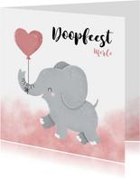 Lieve doopkaart meisje olifantje met ballon en waterverf