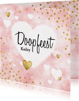 Lieve doopkaart met waterverf, witte en gouden hartjes