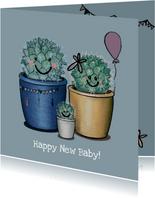 Lieve felicitatiekaart geboorte jongen illustratie cactus