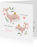 Lieve felicitatiekaart grote zus met walvissen en hartjes