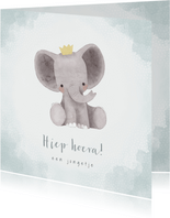 Lieve felicitatiekaart jongetje met olifantje, waterverf