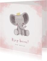 Lieve felicitatiekaart met olifantje, waterverf en stipjes