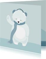 Lieve getekende kaart met ijsbeer en een warme sjaal