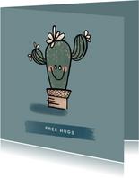 Lieve ik-denk-aan-je-kaart met vrolijke cactus