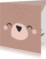 Lieve kaart met een het gezicht van een beertje