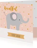 Lieve kaart met knuffel en olifant