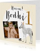 Lieve kaart voor eerste verjaardag met zebra en foto