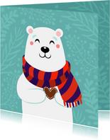 Lieve kerstkaart met ijsbeer met hartje