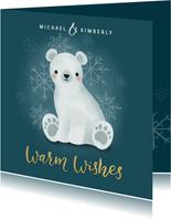 Lieve kerstkaart met ijsbeertje, warm wishes & sneeuwvlokken