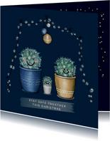 Lieve kerstkaart met illustratie van vrolijk cactusgezin