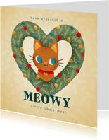 Lieve kerstkaart met kat in hartvormige krans en kerstballen